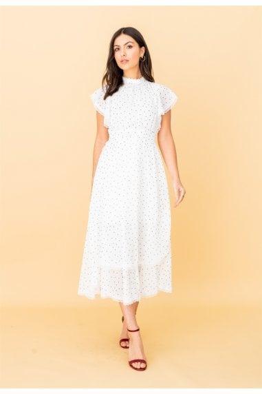 High Neck Lace Trim Midi Dress in White Polkadot