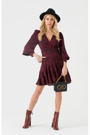 V-wrap Burgundy Snakeskin Mini Dress