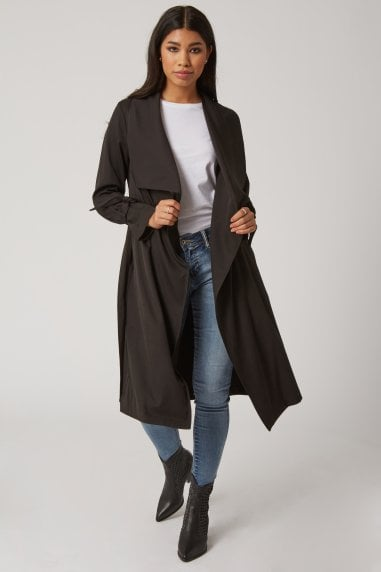 Calibre Black Tie-Cuff Trench Coat