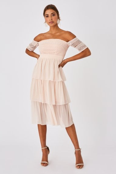 Mariska Nude Crochet Lace Tiered Midi Dress