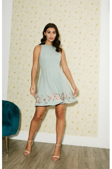 Dian Pistachio Embroidered Mini Skater Dress