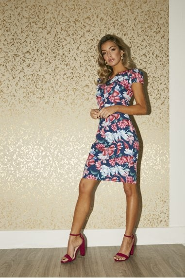 Sylvie Navy Floral-Print Frill Sleeve Belted Bodycon Dress