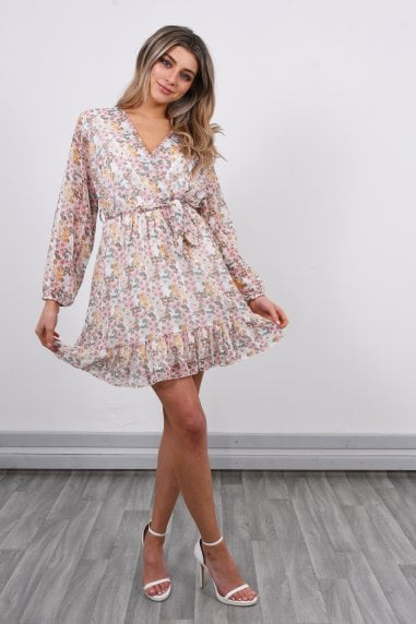 Long Sleeve Floral Mini Dress | White