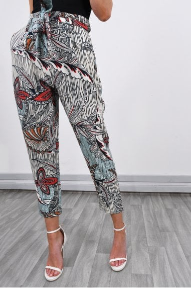 Printed Slouchy High Waisted Trousers | Mint
