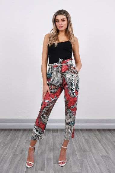 Printed Slouchy High Waisted Trousers | Red