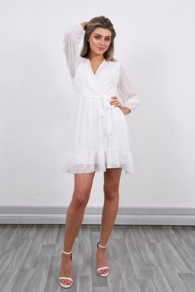 Long Sleeve Mini Dress | White