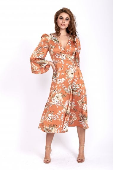Orange Floral Maxi Wrap Dress