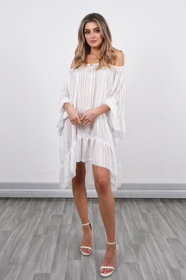 Off Shoulder Mini Dress | White