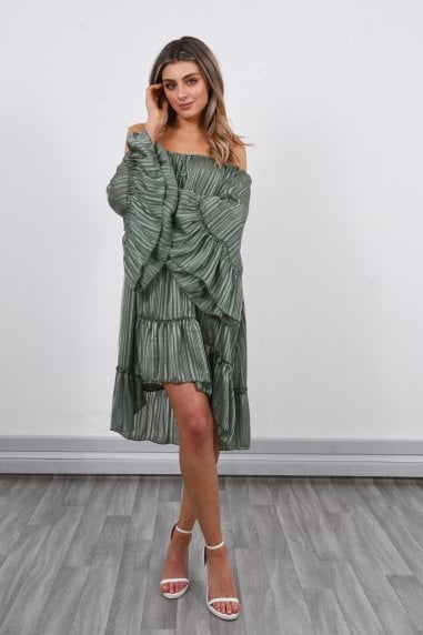 Off Shoulder Mini Dress | Green