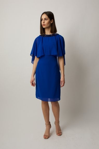 Cobalt blue cape midi with embllishment on the neck