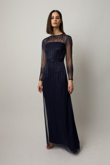 Navy blue long sleeve dress with emebilleshment