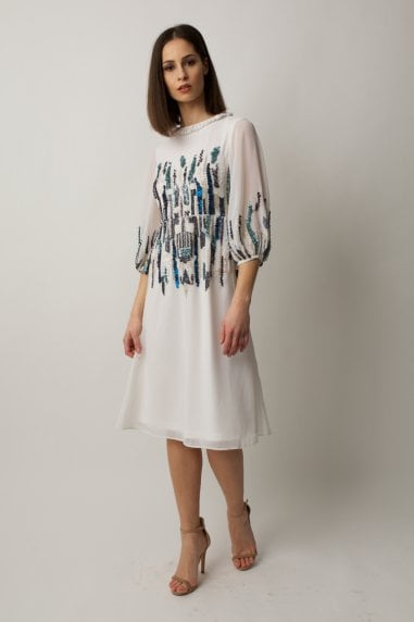 Ivory midi dress with blue and white verticalembelishments