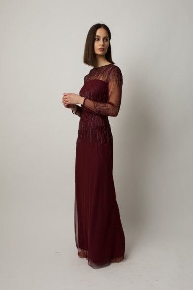 Burgundy long sleeve dress with emebilleshment
