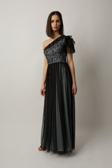 Ruffled one shoulder gown with silver and black beading on bodice