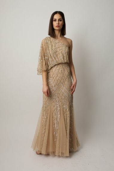 One shoulder gown with silver beading and ombre effect