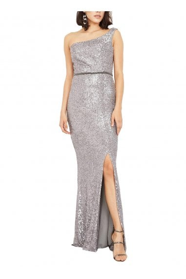 Elie One Off-Shoulder Sequin Evening Dress