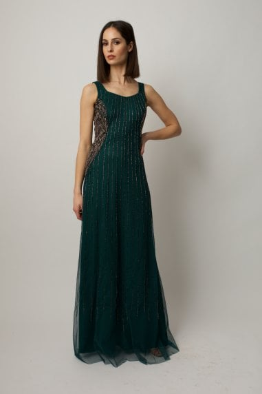 Green embellished gown with sheer beaded cropped cape