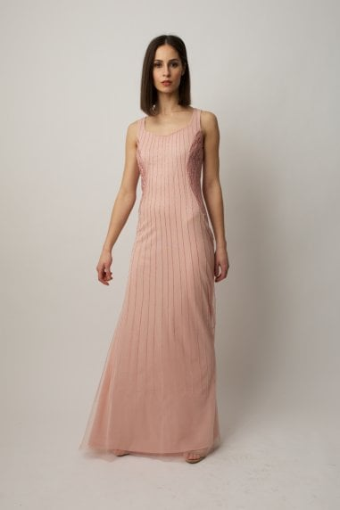 Blush embellished gown with sheer beaded cropped cape