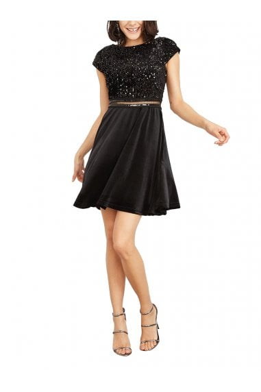 Delphine Sequinned Top Velvet Dress