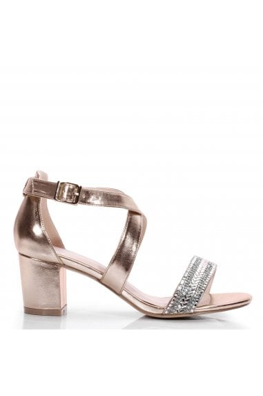 """Hasina"" Wide Fit Mid Block Heel Sandal"
