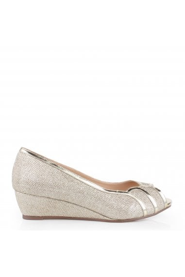 Glitter Mesh Juno Wide Fit Low Wedge Peep Toe