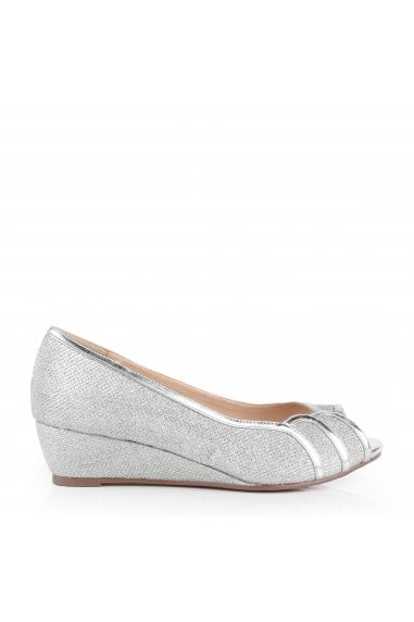 Glitter Mesh 'Juno' Wide Fit Low Wedge Peep Toe