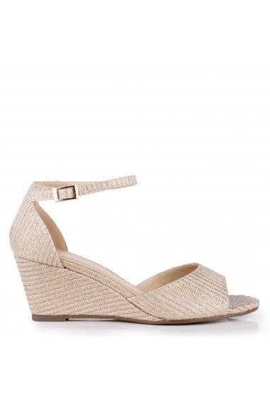 Glitter Mesh' Jemma' Low Wedge Peep Toe