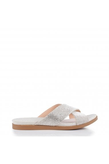 Glitter 'Wisdom' Cross Front Wide Fit Flat Sandal