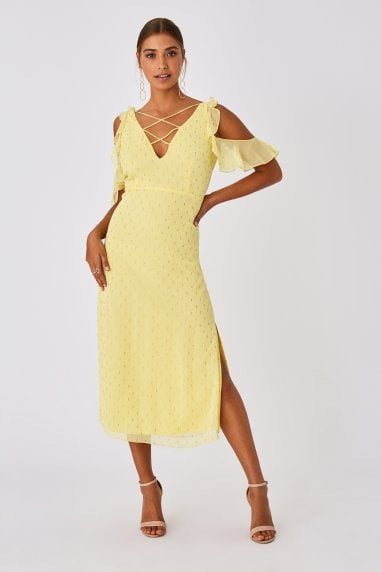 Tandi Lemon Zest Lurex Cold-Shoulder Midaxi Dress