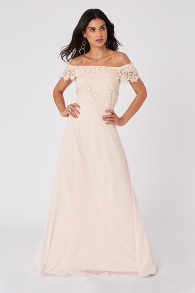 Bridesmaid Alexia Nude Lace Bardot Maxi Dress