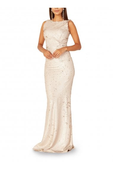 Cammy Bateau Neck Sequinned Gown