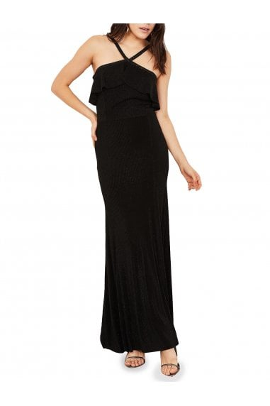 Charlotte Ruffled Halter Neck Evening Dress