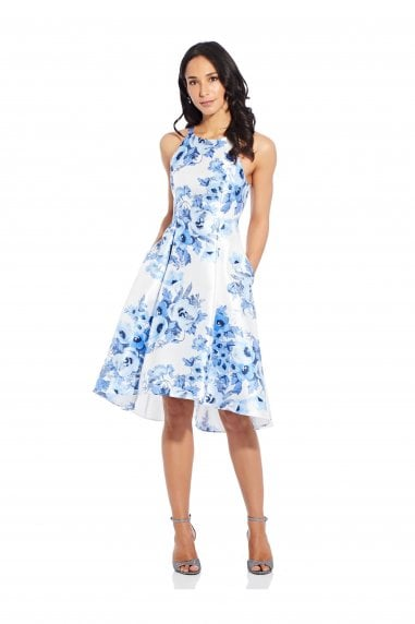Toile Floral High-Low Dress In Blue Multi