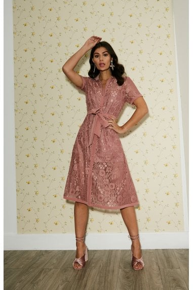 Rhodes Rose Pink Lace Midi Shirt Dress