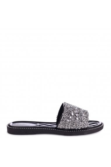 LIGHTENING - Black Diamante Slip On Slider