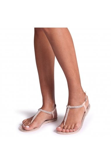 INFINITY - Nude Jelly Sandal With Diamante Toe Post & Trim