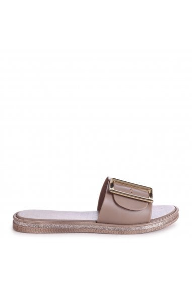 ALMOST FAMOUS - Taupe Slip On Slider With Large Buckle Detail & Glitter Trim