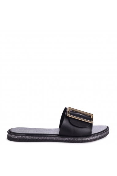 ALMOST FAMOUS - Black Slip On Slider With Large Buckle Detail & Glitter Trim