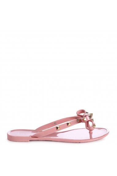 ANNIE - Dusky Pink Flip Flop Sandal With Studded Bow Detail