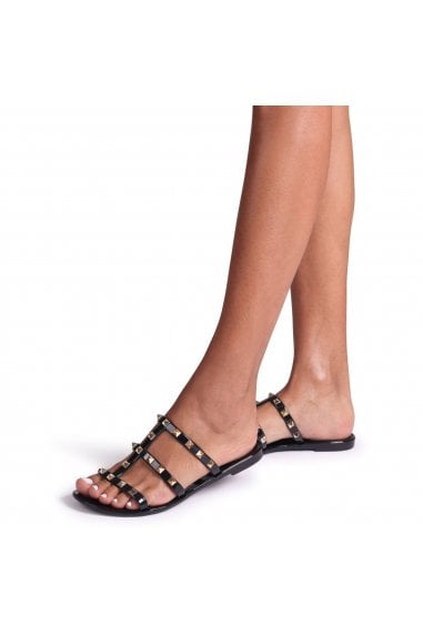 CHARMER - Black Slip On Studded Gladiator Slider