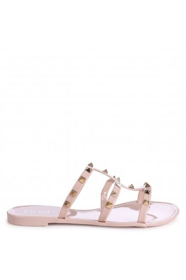 CHARMER - Nude Slip On Studded Gladiator Slider