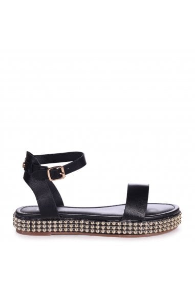CALL ME BABY - Black Nappa Two Part Sandal With Studded Trim Detail