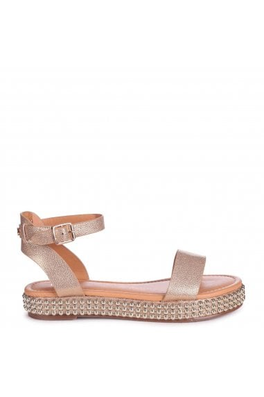 CALL ME BABY - Gold Nappa Two Part Sandal With Studded Trim Detail