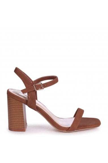 HARLEY - Tan Nubuck Barely There Stacked Heeled Sandal