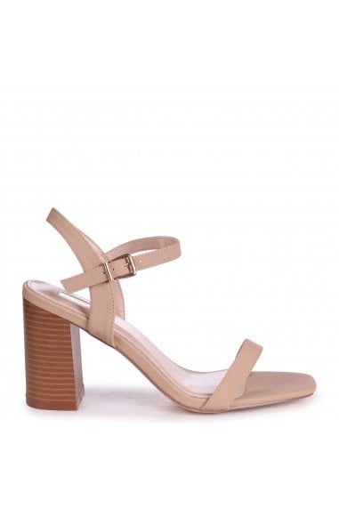 HARLEY - Beige Nappa Barely There Stacked Heeled Sandal