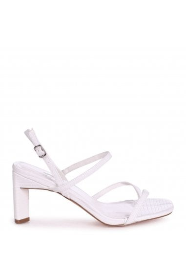 DIAMOND - White Lizard Strappy Toe Post Heeled Sandal