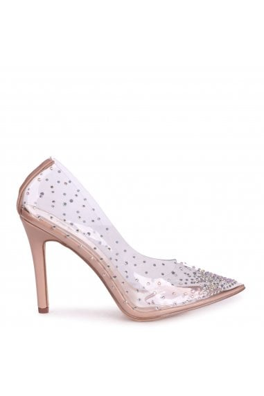 SASSY - Nude Perspex All Over Diamante Court Heel