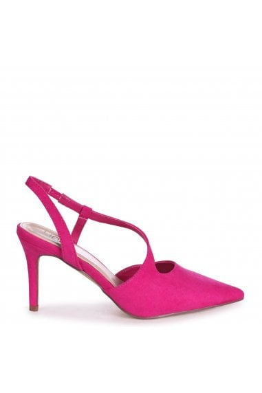 BERKELEY - Fuchsia Suede Wrap Around Sling Back Court Heel