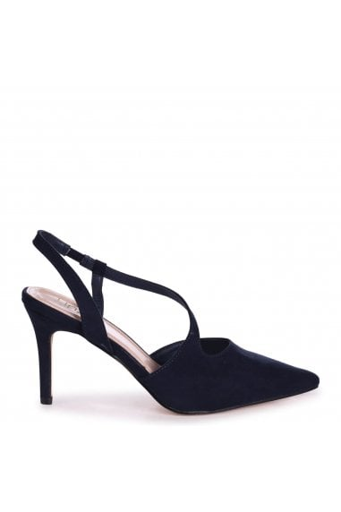 BERKELEY - Navy Suede Wrap Around Sling Back Court Heel