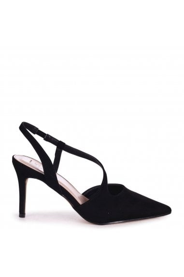 BERKELEY - Black Suede Wrap Around Sling Back Court Heel